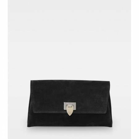 DECADENT Nora Small Clutch, Suede Black